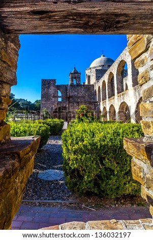 Interesting View Through an Old Water Well of the Historic Old West Spanish Mission Concepcion, Established 1716, San Antonio, Texas.  Shot Taken December 2012. - stock photo