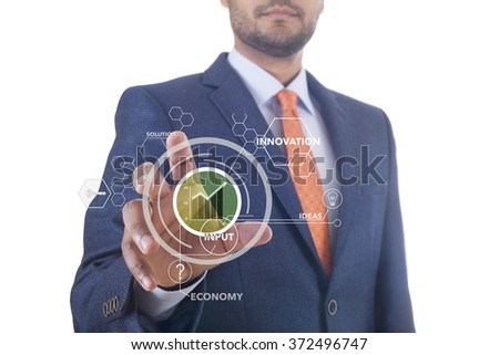 Interface and Man in suit - stock photo