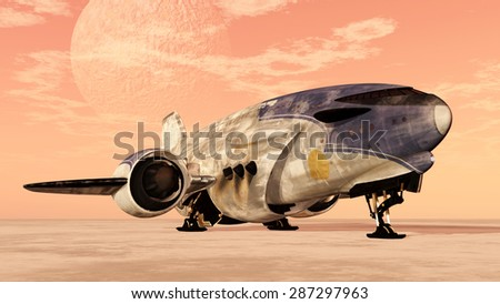 Intergalactic cargo ship Computer generated 3D illustration - stock photo