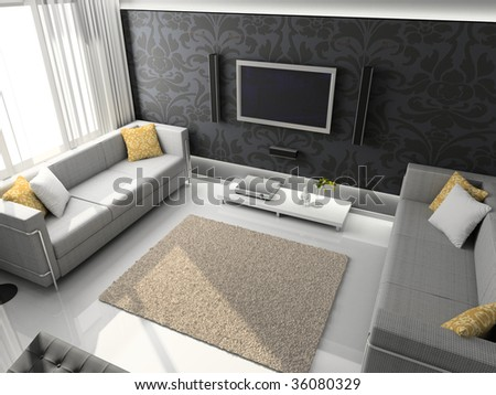 Interioir of modern living-room. 3d render - stock photo