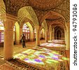Interior and ceiling of historical building Nasir al-Mulk Mosque in Shiraz, Iran - stock photo