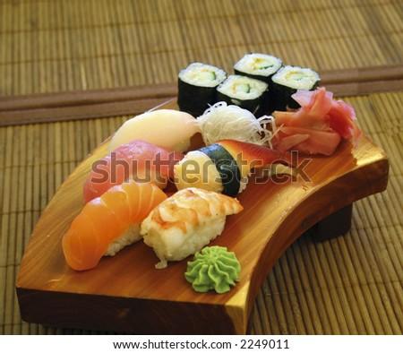 Interior and menu japanese restaurant - stock photo