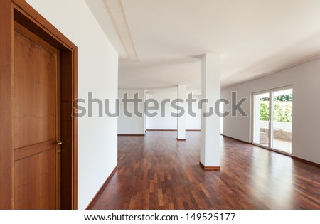 interior apartment, large living room with columns - stock photo