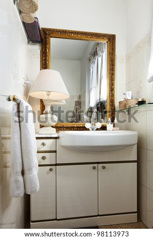 interior apartment, small loft furnished, bathroom - stock photo