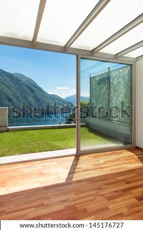 Interior apartment with garden - stock photo