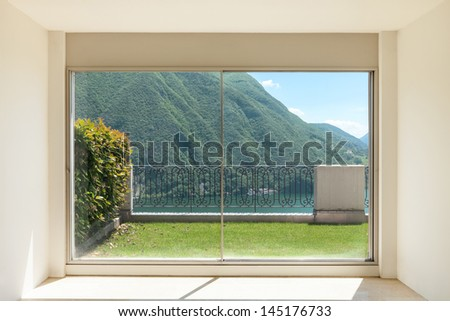 Interior apartment with garden - stock photo