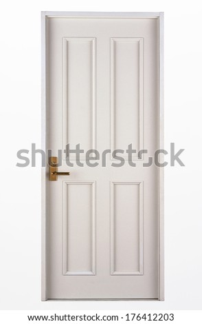 Interior apartment wooden door isolated on white - stock photo