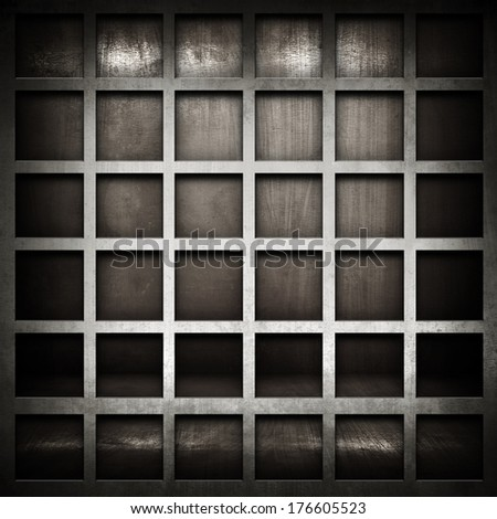interior background with metal grid  - stock photo
