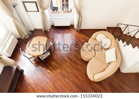 Interior, beautiful apartment, room, view from above - stock photo