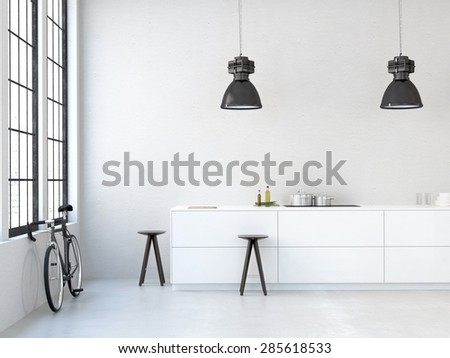 interior, beautiful kitchen of an old loft. 3d rendering - stock photo
