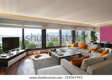 Interior, beautiful living room of a luxury apartment - stock photo