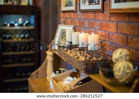 Interior candles comfort bar - stock photo