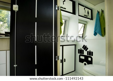 interior caravan trailer mobile home bathroom - stock photo