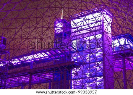 Interior Color of a metal structure.#2 (Night Scene) - stock photo