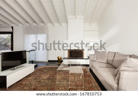 interior, comfortable loft, modern furniture, living room - stock photo