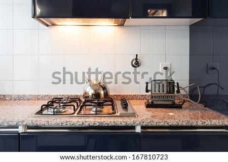 interior, comfortable loft, modern kitchen, detail - stock photo