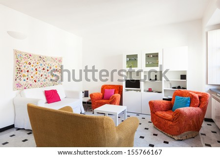 interior, comfortable small apartment, living room - stock photo