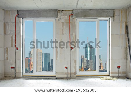 interior construction building site and electrical installation - stock photo