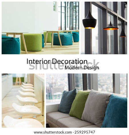 interior decoration modern design collection set - stock photo