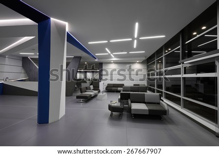 Interior Design: Big empty modern office - stock photo