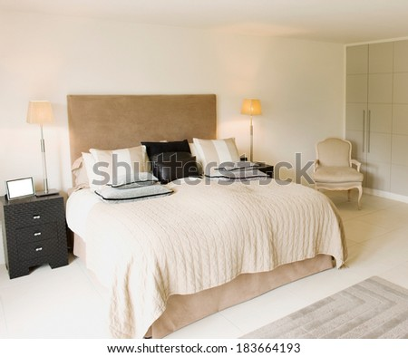Interior design: Big modern Bedroom - stock photo