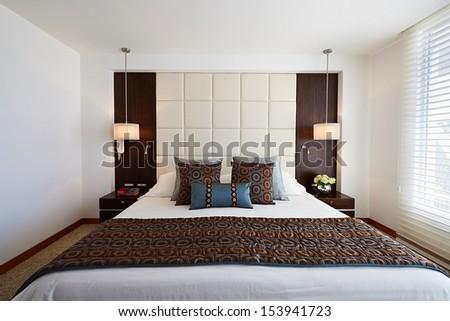 Interior design: Big modern elegant Bedroom - stock photo