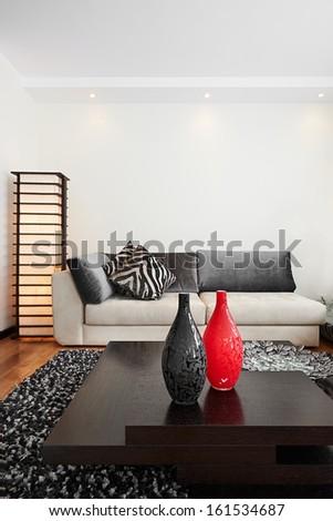 Interior design: Big modern living room - stock photo