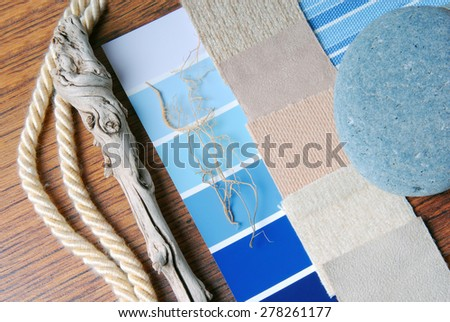interior design color and  upholstery planning and sea and marina style concept - stock photo