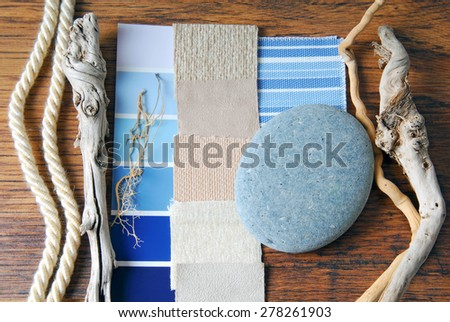 interior design color and  upholstery planning concept of sea and marina style - stock photo