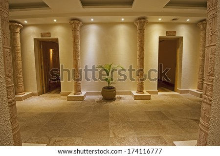 Interior design concept of a luxury health spa with two massage rooms and egyptian theme - stock photo