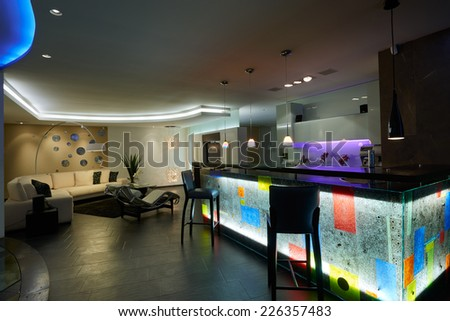 Interior design: Kitchen / Bar house and living room - stock photo