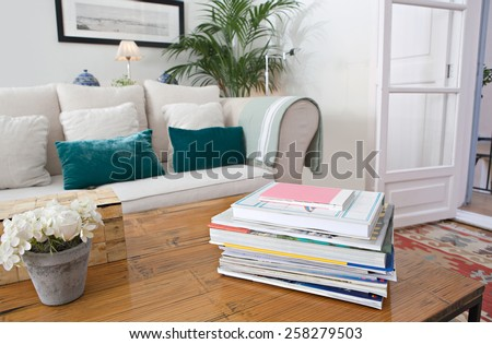 Interior design lifestyle detail of a home living room with white sofa and green cushions and plants, interior view. House indoors with carpets and picture frame. Aspirational lifestyle home space. - stock photo