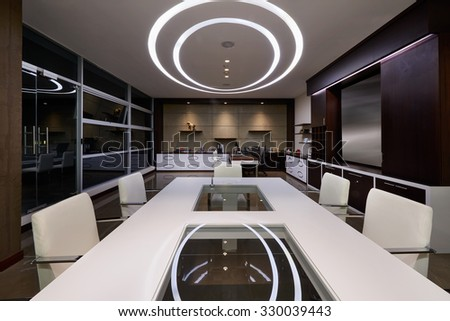Interior Design: Meeting room and office - stock photo