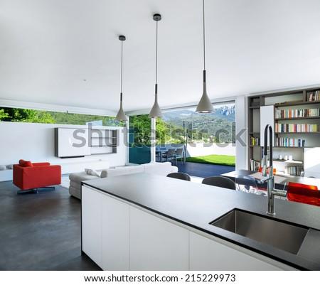 Interior design, modern apartment, kitchen - stock photo
