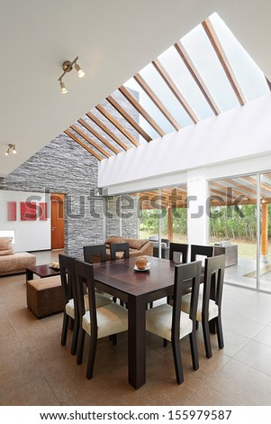 Interior design: Modern Dining and Living room - stock photo