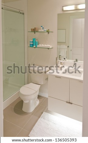Interior design of a bathroom with washbasins (sink) and toilet  and the counter - stock photo