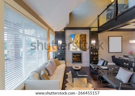 Interior design of a luxury living room - stock photo