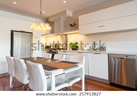 Interior design of a luxury modern kitchen - stock photo