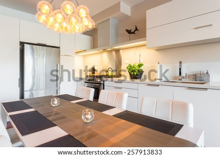 Interior design of a luxury modern kitchen - stock photo