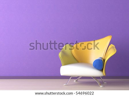 Interior design of a modern armchair against a violet wall with copy space on the top left corner - stock photo