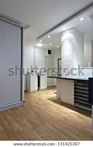 Interior design of a  modern counter  kitchen with the living room - stock photo