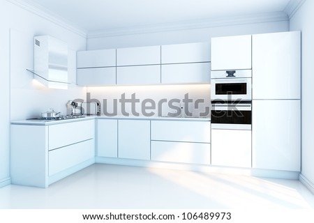 interior design of clean modern white kitchen - stock photo