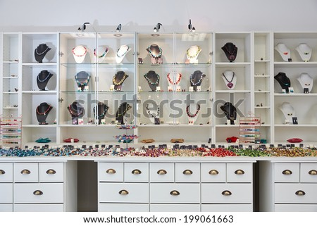Interior design of jewelry store with product presentation displays - stock photo