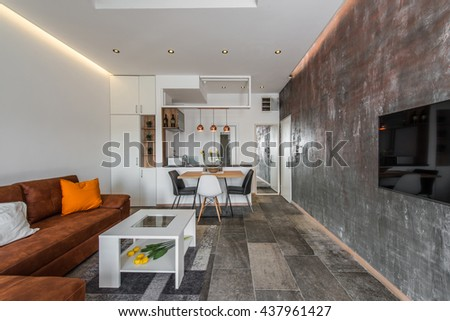 Interior design of modern apartment, living area and open kitchen - stock photo