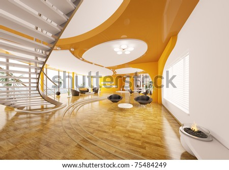 Interior design of modern apartment living room hall 3d render - stock photo