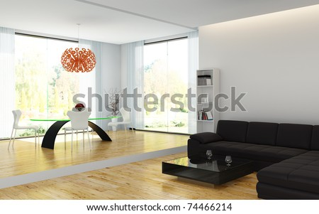 interior design of modern living room and dining room - stock photo