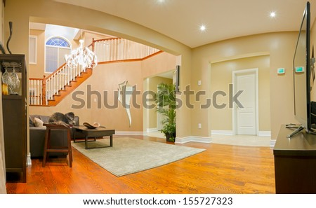 Interior design of modern Living room in a new house - stock photo