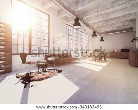 Interior design of  modern Living room with a table. 3d rendering - stock photo