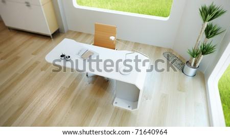 interior design of modern office, 3d render - stock photo