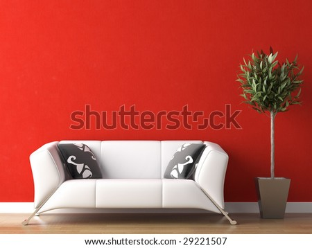 interior design of modern white couch on red wall background - stock photo
